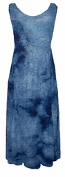 SOLD OUT!!!!New! Cobalt Blue Tie Dye Hues Sheer Crinkle Plus Size & Supersize Princess Cut Tank Dresses