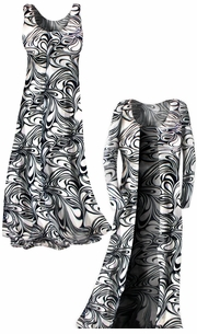 SOLD OUT!!!!!!!!!!New! Customizable Black & White Slinky Slinky Swirly Yummy Plus Size & Supersize Customizable A-Line or Princess Cut Dresses & Shirts, Jackets, Pants or Skirts Lg to 8x