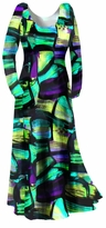 SOLD OUT! New! Customizable Green Yellow & Black Slinky Geometric Print Plus Size & Supersize Customizable A-Line or Princess Cut Dresses & Shirts, Jackets, Pants & Palazzo's or Skirts Lg to 9x