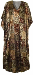 SOld out!!!!!New!  Gold Animal Print Poly/Satin Plus Size & Supersize Caftan Dress 1x to 6x