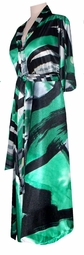 SOLD OUT!!New! Gorgeous Emerald Black Swirl Long Satin Plus Size Supersize Robe