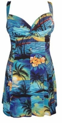SOLD OUT!!!!New! Gorgeous Tropical Paradise Blue Plus Size & Supersize 2 Piece Princess Cut Swimdresses