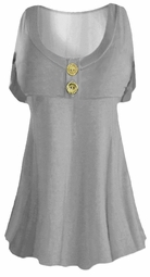 SOLD OUT!!!!!!!!!!New! Gray  Cotton Lycra Mock Button Top Plus Size & Supersize Short Sleeve Shirt 4x 5x 6x