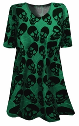 SOLD OUT!!!!!!!!NEW! Green & Black Heart Eye Skulls Plus Size & Supersize T-Shirts  7x