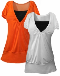 SOLD OUT!!!!New! Hot Orange & Black or White & Black Layered Spandex Top  2x