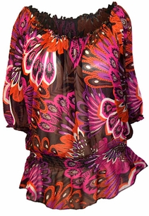 SOLD OUT!!!!New!  Hot Retro Print Sheer Plus Size Flounce Top 1x