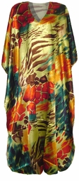 SOLD OUT!!!!New! Lovely Orange, Teal and Brown Print Poly/Satin Plus Size & Supersize Caftan Dress 1x to 6x