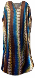SOLD OUT!!!!!!!New! Pretty Blue, Gold and Brown Print Poly/Satin Plus Size & Supersize Caftan Dress 1x to 6x