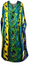 SOLD OUT! Pretty Blue Green and Yellow Floral Print Poly/Satin Plus Size & Supersize Caftan Dress 1x to 6x
