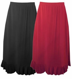 SOLD OUT!!!!!!!!!!!!!New! Pretty Plus-Sized Slinky Black or Wine Ruffle Trim Skirt 4x 5x 6x