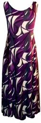 SOLD OUT!! New! Purple and Cream Geometric Slinky Plus Size & Supersize Princess Cut Tank Dresses