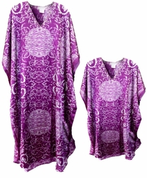 SOLD OUT!!!!!!!!!! New!!! Purple & White Print Poly/Satin Plus Size & Supersize Caftan Dress or Shirt 1x to 6x