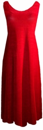 SOLD OUT! New! Ruby Red Ribbed Slinky Plus Size & Supersize Princess Cut Tank Dresses 6x