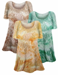 SOLD OUT!!!!!!!!! New! Semi-Sheer Sparkly Tie-Dye Crepe' Customizable Plus Size & Supersize Swimsuit Cover-Up Shirts in Orange / Green / Brown 0x 1x 2x 3x 4x 5x 6x 7x 8x