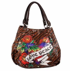 SOLD OUT!!!!!!New! Tiger Print Tattoo Hearts & Roses, Love & Peace w/ Rhinestones Faux Leather Purse