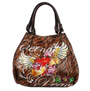 SOLD OUT!!!!!New! Tiger Print Tattoo Winged Heart Eternal Love w/ Rhinestones Faux Leather Purse