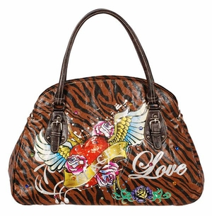 SOLD OUT!!!!!!!New! Tiger Print Tattoo Winged Heart Love w/ Rhinestones Faux Leather Purse