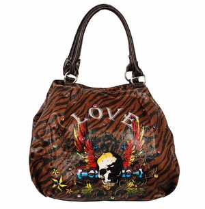 SOLD OUT!!!!!!NEW! Tiger Print Tattoo Winged Skull Love w/ Rhinestones Faux Leather Purse