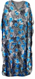SOLD OUT!!!!!NX25 SALE! New! Beautiful White Leopard Blue Floral Print Poly/Satin Plus Size & Supersize Caftan Dress 1x to 6x