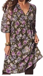 SOLD OUT!!!!! ! Olive Surplice Plus Size Empire Dress / Shirt 32w 34w 4x 5x