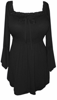 SOLD OUT!!!!!!!Onyx Black Lace Trim Bell Sleeve Yummy Soft Plus Size Shirts