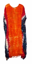 SOLD OUT!!!!!Orange, Blue & Red Tie Dye Rayon Plus Size & Supersize Caftan Dress 1x to 6x