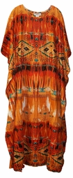 SOLD OUT!!!!Orange & Brown Rayon Plus Size & Supersize Caftan Dress