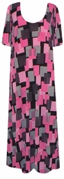 SOLD OUT! Pink & Black Geometric Slinky Plus Size & Supersize Customizable Dresses Shirts & Jackets Lg to 9x