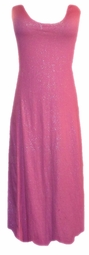 Sold Out! Pink Cotton Jersey Crinkle Glimmer Plus Size & Supersize Princess Cut Tank Dresses 2x