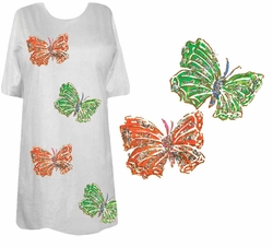 SOLD OUT!!!!  Pink or Lime Green & Orange Glimmering Butterflies Plus Size T-Shirts