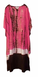 SOLD OUT!!Pink, White & Brown Cotton Plus Size & Supersize Caftan Dress 1x to 6x
