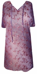 SOLD OUT!!!! ! Plum Floral Glitter Swimsuit Cover-Ups or Over-Blouse Plus Size & Supersize 1x