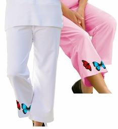 SOLD OUT!!!! Plus-Size Butterfly Print Active Knit Capri Pants  5xp 6xp