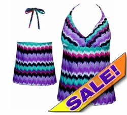 SOLD OUT! Plus Size Halter Tankini Swimsuit Top Tiedye Print / Pink - Green - Purple