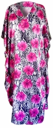 SOLD OUT!!! Pretty Black White & Pink Floral Animal Print Poly/Satin Plus Size & Supersize Caftan Dress or Shirt 1x to 6x