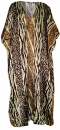 SOLD OUT!!!!!Pretty Black White & Tan Animal Print Poly/Satin Plus Size & Supersize Caftan Dress 1x to 6x