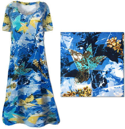 a69b8a99847 Sold Out!! Pretty Blue Abstract Floral Print Slinky Plus Size   Supersize  Dresses   Shirts 1x 2x 3x