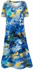 Sold Out!! Pretty Blue Abstract Floral Print Slinky Plus Size & Supersize Dresses & Shirts 1x 2x 3x