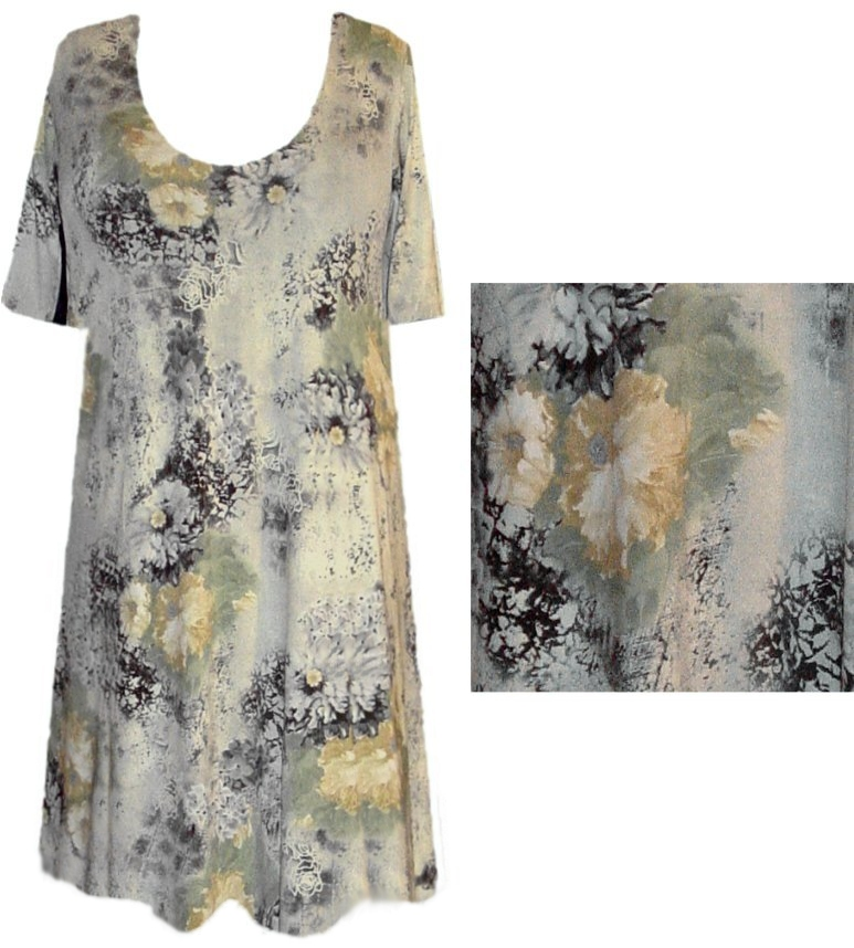 db4291be6f3 SOLD OUT! Pretty Floral Abstract Plus Size Slinky Shirt