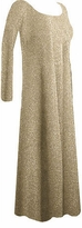 SOLD OUT!  Pretty Gold Glimmer Slinky Plus Size Long Sleeve Dress