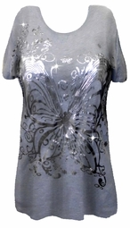 SOLD OUT!!! Pretty Gray & Silver Butterfly Design Plus Size T-Shirts