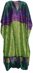 SOLD OUT!!!!!!! Pretty Green & Purple Print Poly/Satin Plus Size & Supersize Caftan Dress