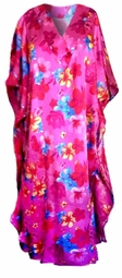 SOLD OUT!!!! Pretty Hot Fuchsia Pink Floral Poly/Satin Plus Size & Supersize Caftan Dress or Shirt 1x to 6x