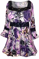 Sold Out!!! Pretty in Purple and Black  Lace Trim Bell Sleeve Slinky Plus Size Shirts 4x 5x 6x