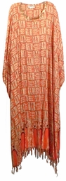 SOLD OUT! Pretty Orange & Gold Bling!  African Print Sequins Rayon Plus Size & Supersize Caftan Dress 1x to 6x