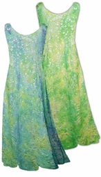 SOLD OUT!!!!!!!!!!!! SALE !!!!!! Pretty Lime with Silver Flowers Semi-Sheer Crinkle Plus Size & Supersize A-line Tank Dresses 6X