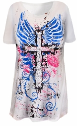 SOLD OUT!!!! Pretty White Blue & Pink Glittery Wings & Cross Plus Size T-Shirts 1x 2x
