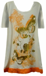 SOLD OUT!!!! Pretty White Orange & Gold Glitzy Butterfly Design Plus Size T-Shirts 1x
