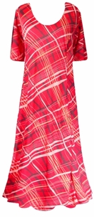 SOLD OUT!!!!!!!!!!!Pretty Wine Slinky Plaid Princess Cut Short Sleeve Plus Size & Supersize Dresses 3x 4x