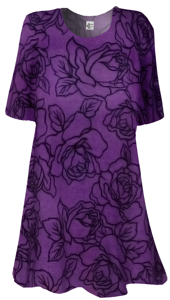Sold Out Purple Black Flocked Plus Size